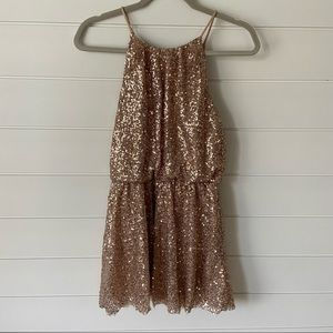 Forever 21 Gold Sequence Mini Dress size S
